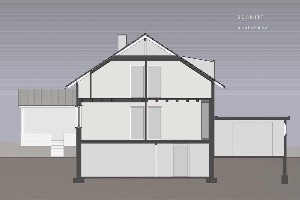 Umbau Einfamilienhaus Umiken Schnitt Bestehend