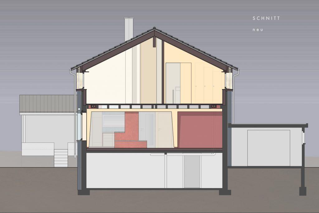 Umbau Einfamilienhaus Umiken Schnitt Neu