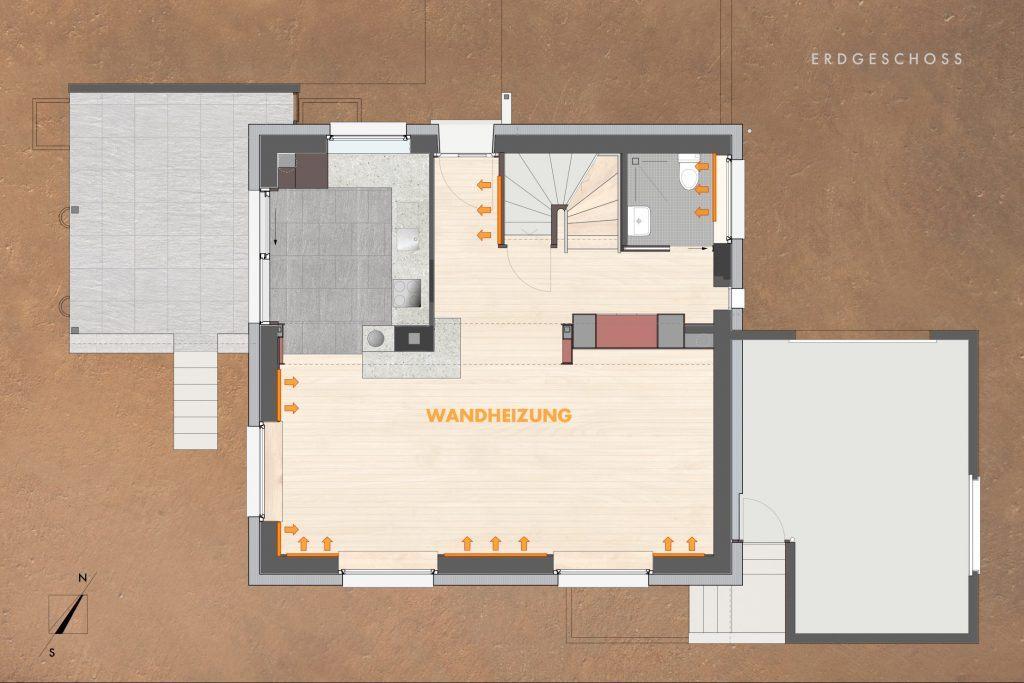 Umbau Einfamilienhaus Umiken Grundriss Erdgeschoss Wand-Heizflächen