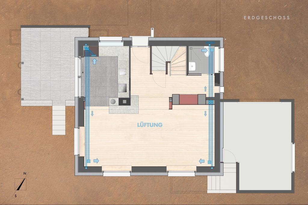 Umbau Einfamilienhaus Umiken Grundriss Erdgeschoss Lüftung