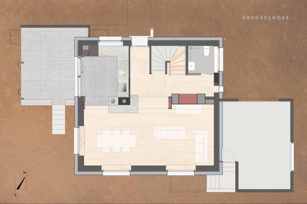 Umbau Einfamilienhaus Umiken Grundriss Erdgeschoss Ne