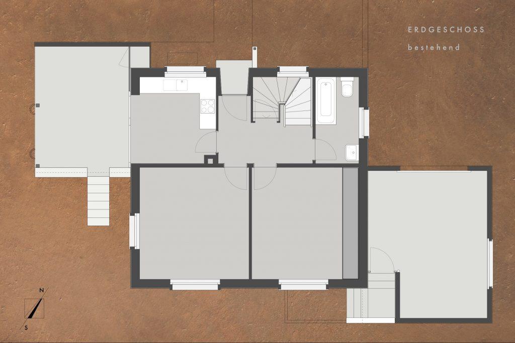 Umbau Einfamilienhaus Umiken Grundriss Erdgeschoss Bestehend mit kleinen Zimmern