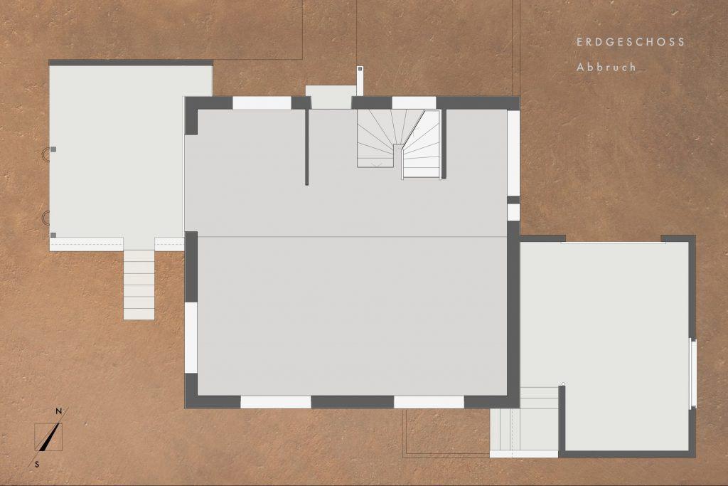 Umbau Einfamilienhaus Umiken Grundriss Erdgeschoss ohne Abbrüche