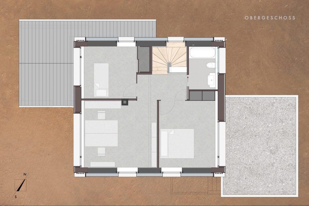 Umbau Einfamilienhaus Umiken Grundriss Obergeschoss Neu mit breiten Fenstern gegen W und E