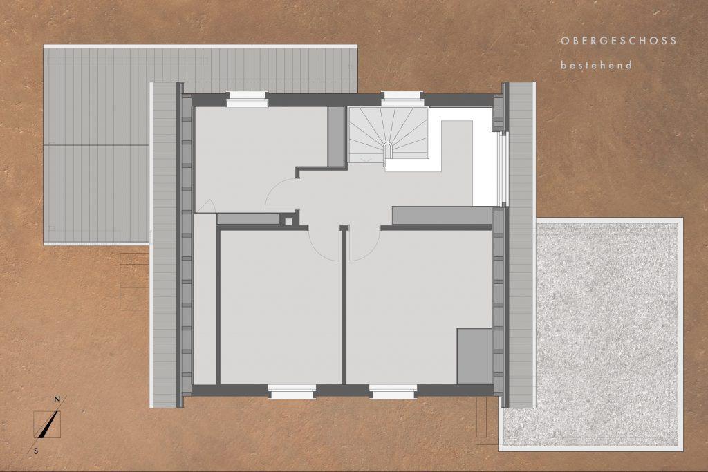 Umbau Einfamilienhaus Umiken Grundriss Obergeschoss bestehend