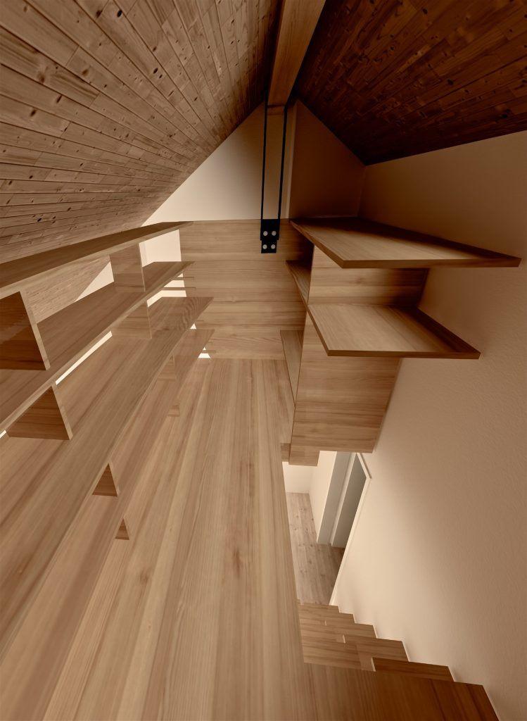Hängender Abstellraum Zofingen   Visualisierung der Holzkonstruktion mit Plattenscheiben innen