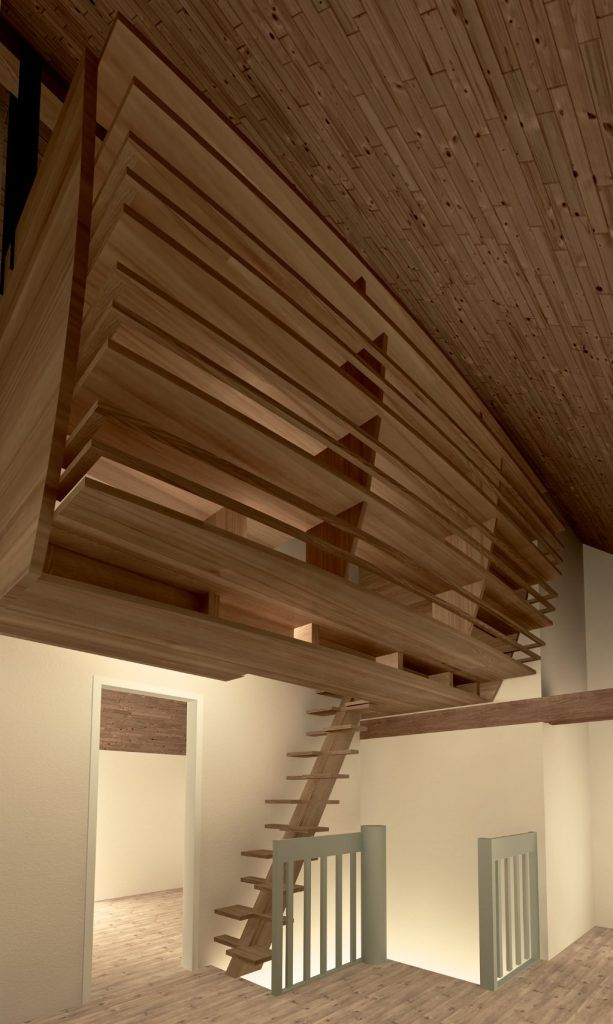 Hängender Abstellraum Zofingen   Visualisierung der Holzkonstruktion mit Plattenscheiben von unten