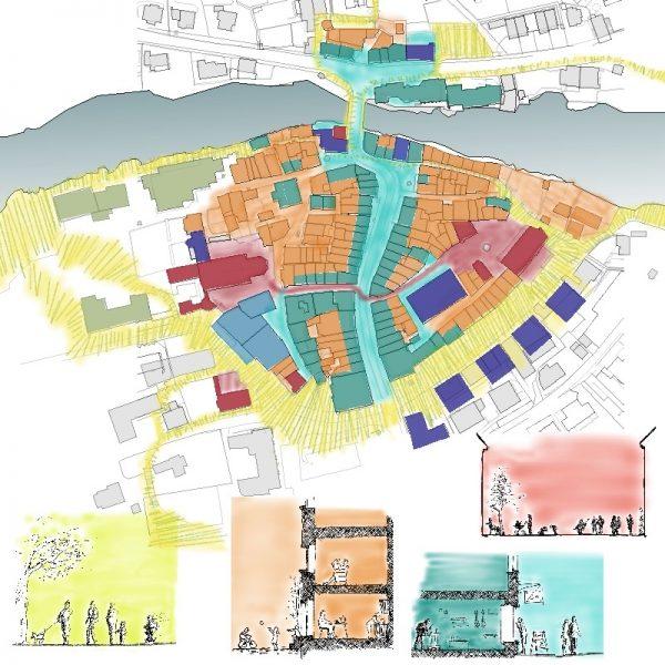 Altstadtentwicklung Brugg Identitäten   Plan mit Funktionen und Skizzen