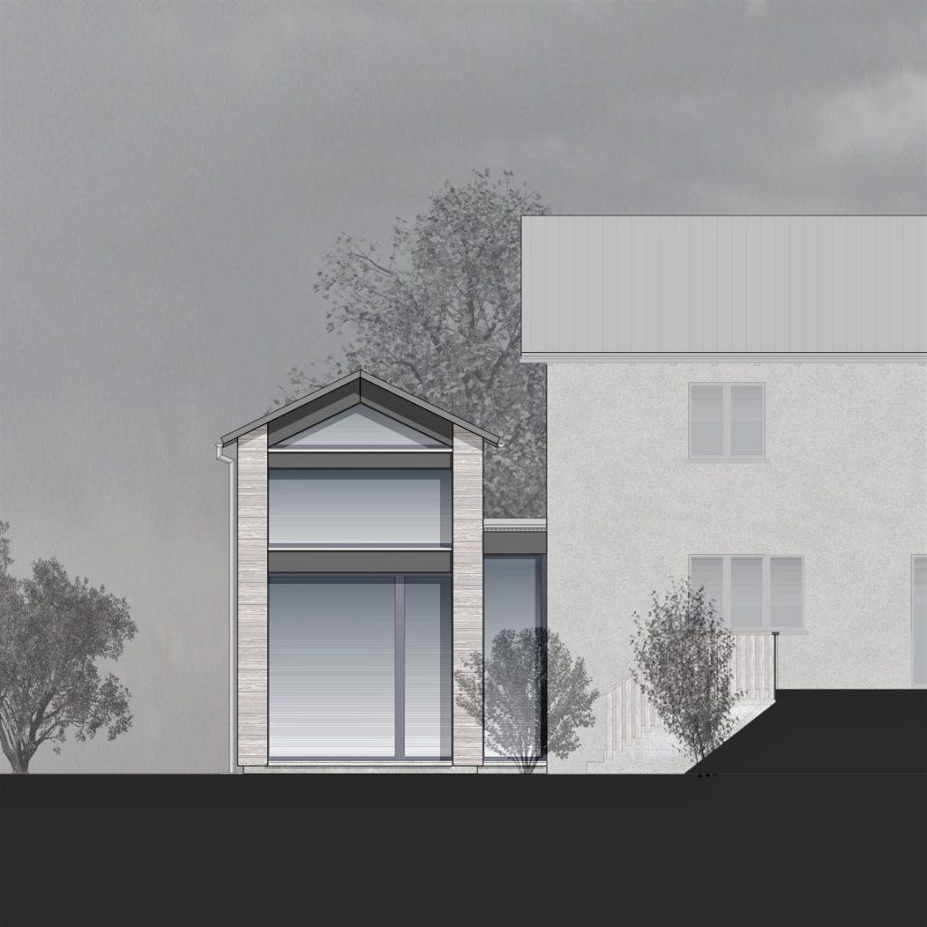Anbau Ankerweg Klingnau grosszügig verglaste Fassade zur Gartenseite