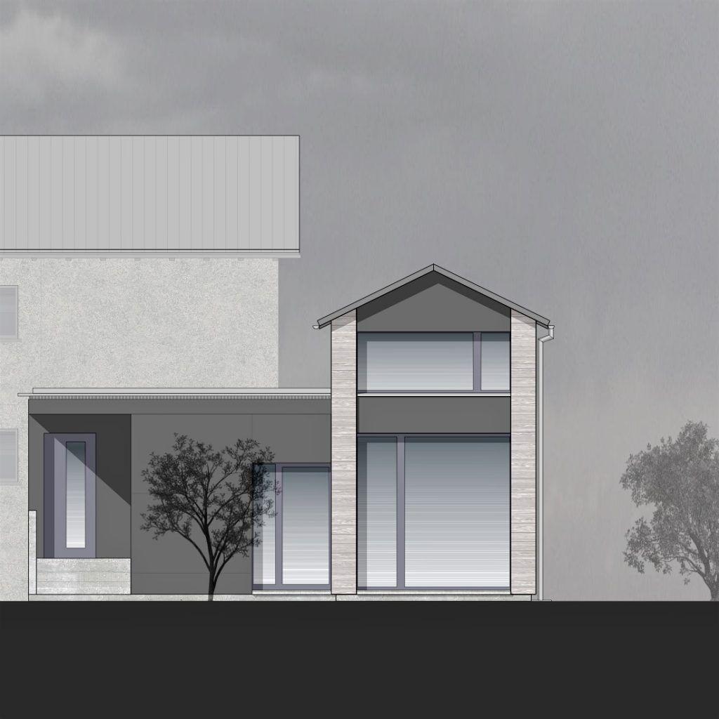 Anbau Ankerweg Klingnau grosszügig verglaste Fassade zur Strassenseite
