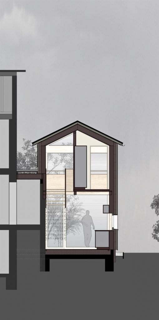 Anbau Ankerweg Klingnau Querschnitt Küche und Treppe