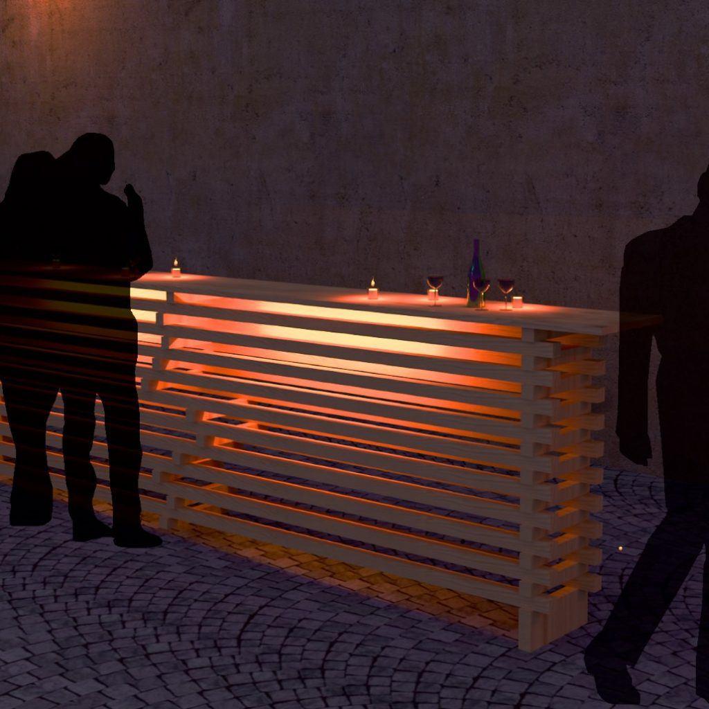 Beleuchtete Bartheken aus Holzlatten zur Wiederverwendung