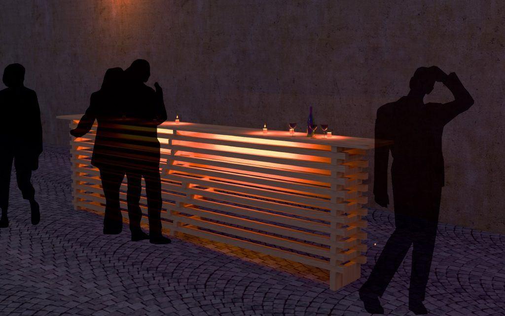 beleuchtete Bartheken aus wiederverwendbaren Holzlatten