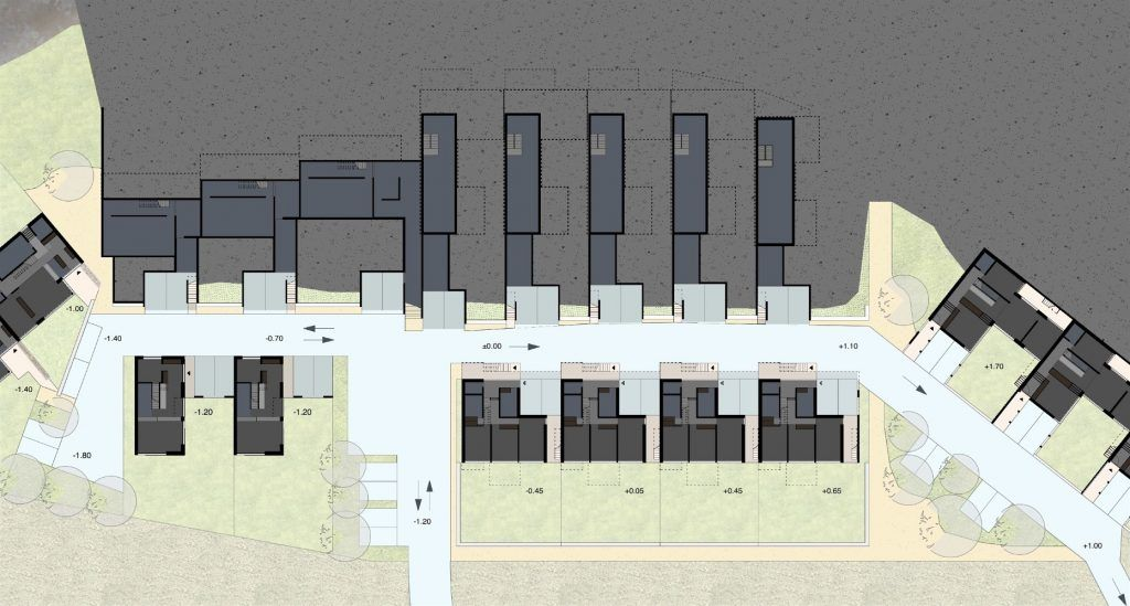 Gestaltungsplan Schönenwerd Ebene 1 | Wohngasse mit Carports, Hauszugängen und gemeinschaftlichen Plätzen
