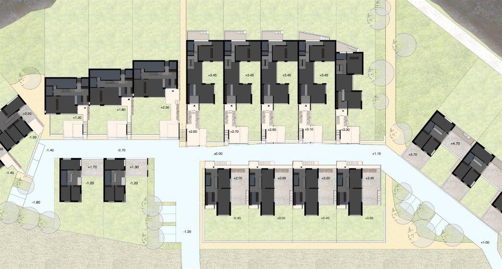Gestaltungsplan Schönenwerd Ebene 1 | Nach Orientierung und Höhenlage differernzierte | Privatheit mit Ausblick für alle