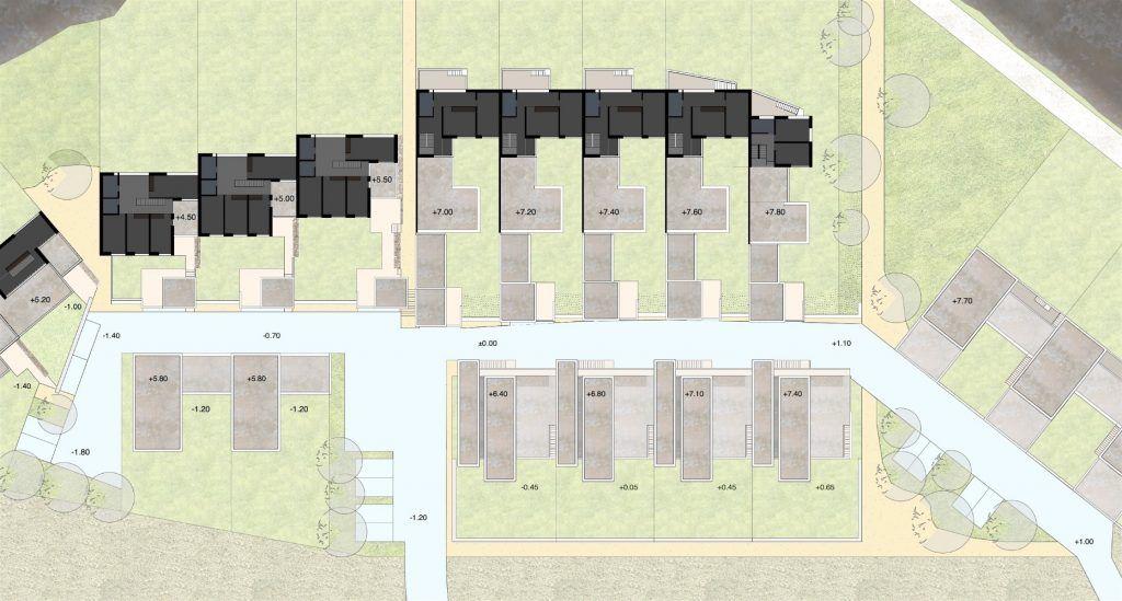 Gestaltungsplan Schönenwerd Ebene 2 | Obergeschoss mit Zimmern und Dachterrassen Baufeld B, E