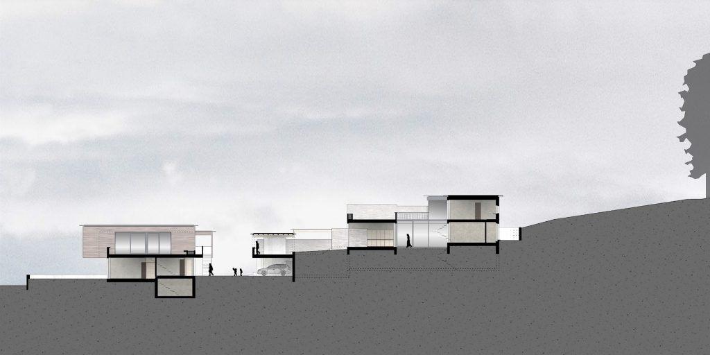 Gestaltungsplan Schönenwerd Schnitt | komplexe Volumetrie der Haustypen generiert Aus- und Durchblicke