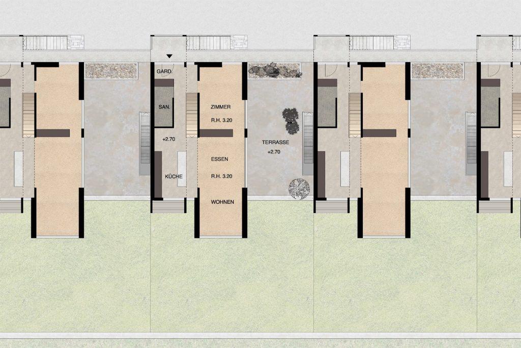 Gestaltungsplan Schönenwerd Grundriss Obergeschoss Haustyp A |Kuben quer auf Sockelgeschoss Terrasse