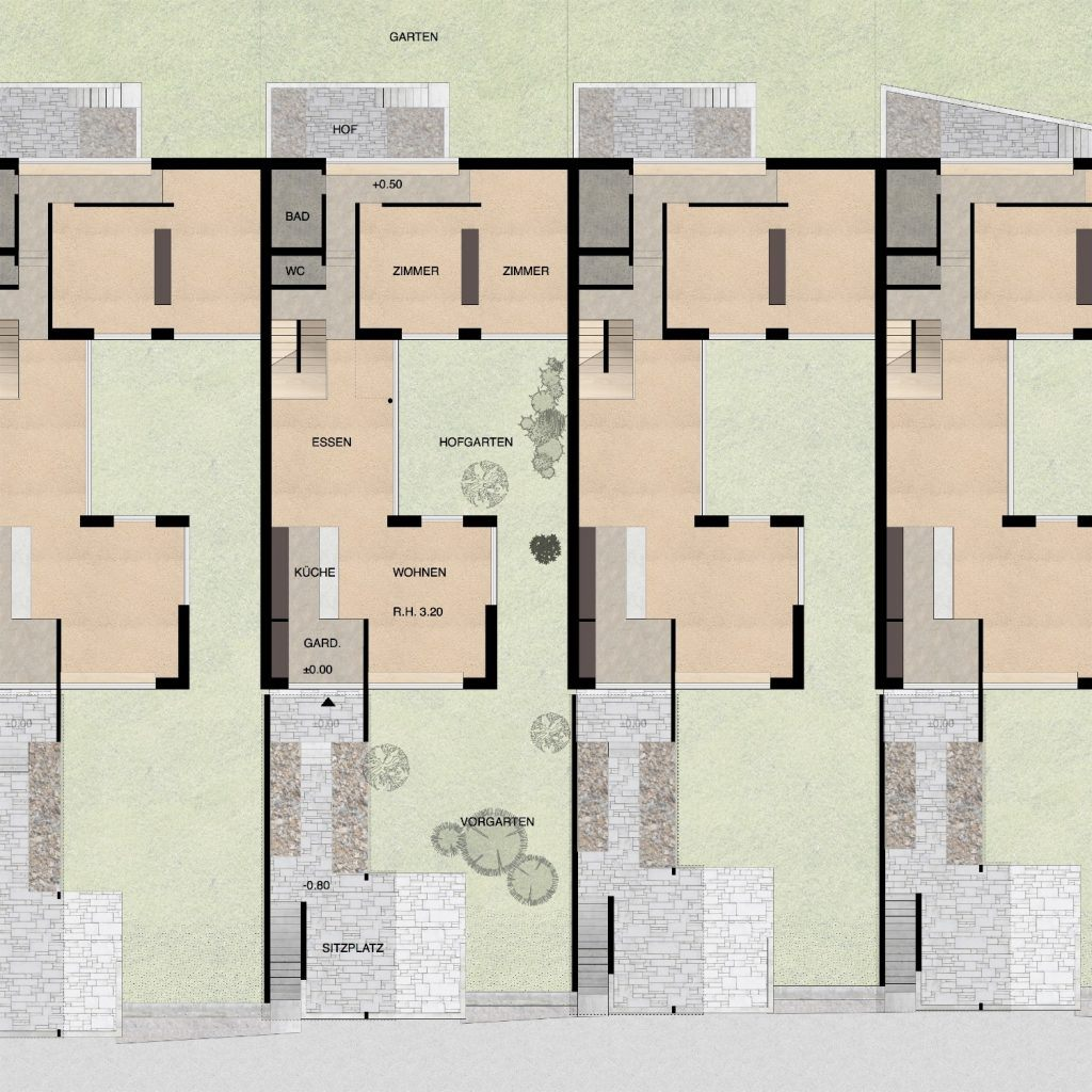 Gestaltungsplan Schönenwerd Grundriss Erdgeschoss Haustyp B | Häuser mit intimem Gartenhof