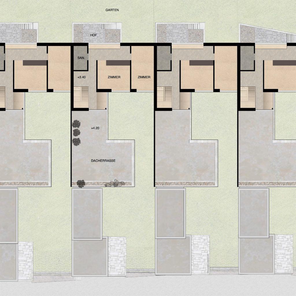 Gestaltungsplan Schönenwerd Grundriss Obergeschoss Haustyp B | Zimmer Bad Treppe Dachterrasse über Wohnbereich