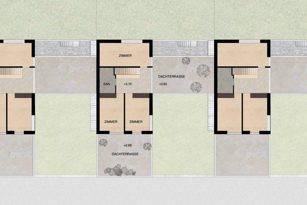 Gestaltungsplan Schönenwerd Grundriss Obergeschoss Haustyp B | Zimmer beidseits grosszügiger Erschliessungszone und Dachterrasse über hangseitigen Wohnräumen