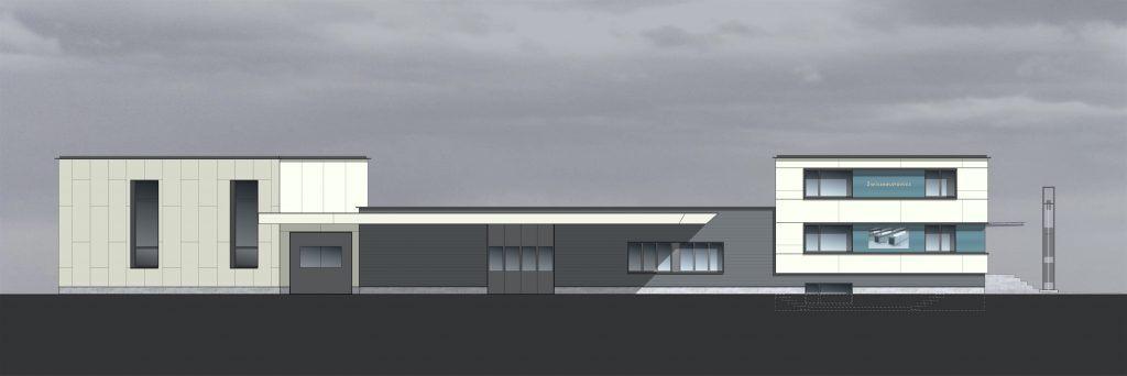 NW-Fassade mit Fensterbändern, blauen Glas-Zwischenfeldern, Eternitverkleidung mit Fugenbild