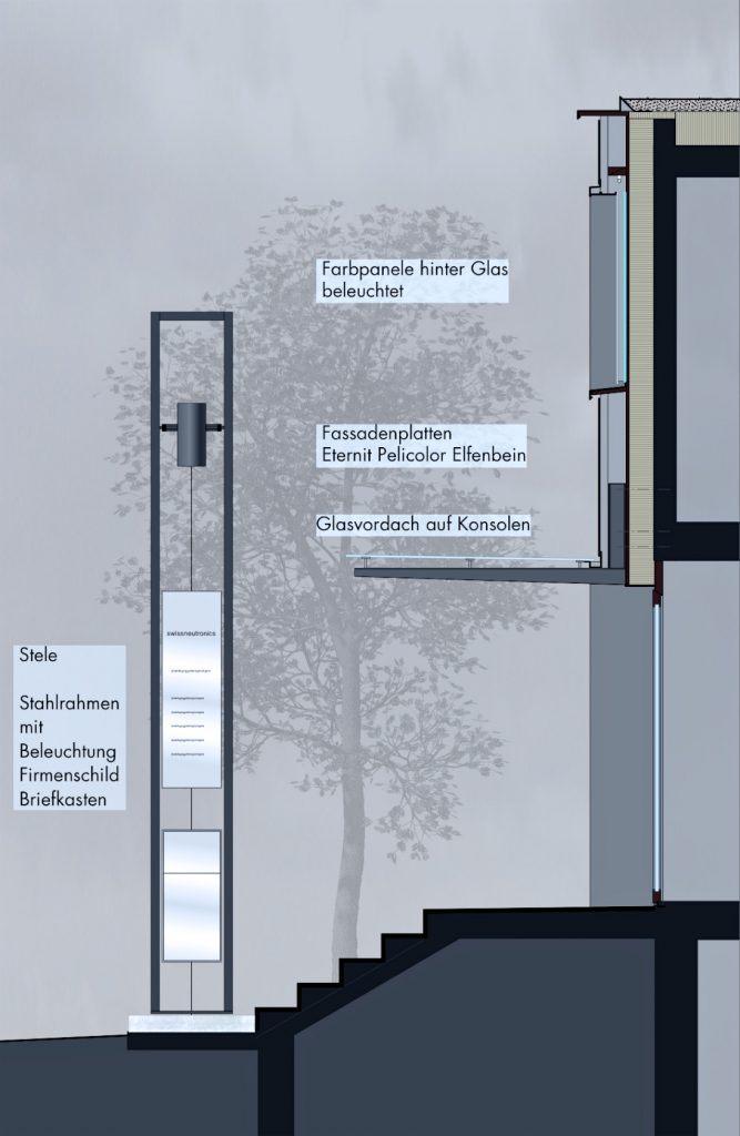 Detailschnitt Eingang | Vordachkonstruktion, Fassadenverkleidung Eternitplatten und Glasfelder| Beleuchtungs-Stele