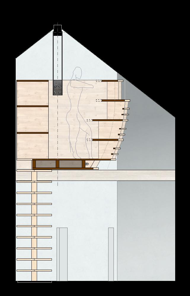 Hängender Abstellraum Zofingen   Schnitt der Holzkonstruktion mit Plattenscheiben