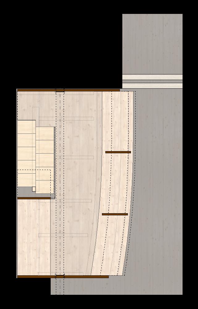 Hängender Abstellraum Zofingen   Grundriss der Holzkonstruktion mit Plattenscheiben oben