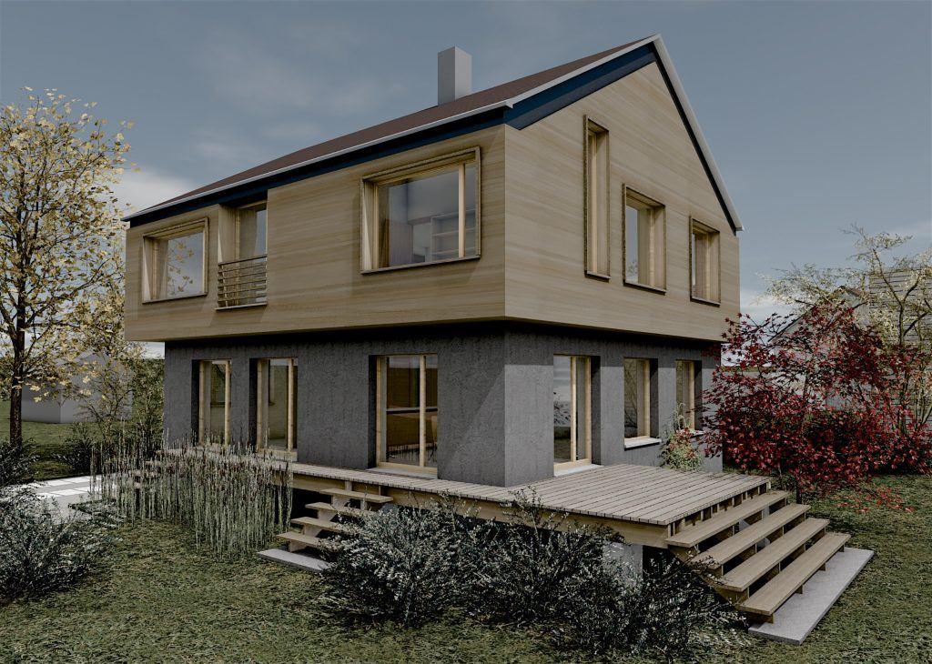Erweiterung und Aufstockung Einfamilienhaus Bühlweg Windisch Visualisierung Aussen